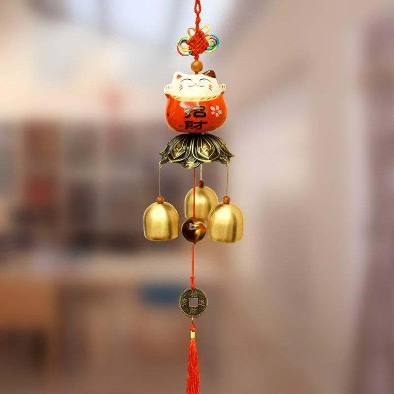 陶瓷招財貓店鋪門鈴風鈴掛飾門飾創意家居禮品銅鈴鐺掛件