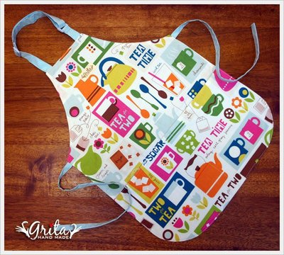 ♥grita's handmade♥純棉手作兒童圍裙(做點心、畫畫、勞作)-下午茶(現貨)