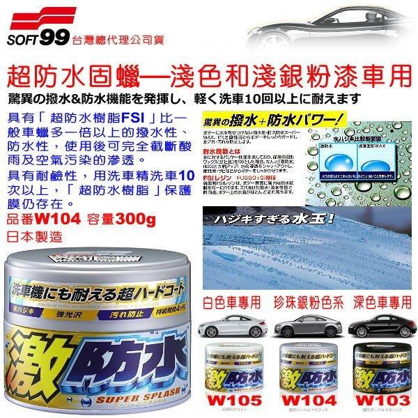 和霆車部品中和館—日本SOFT99  超防水固蠟 激防水樹脂FSI 超撥水 淺色和淺銀粉漆專用 容量300g W104