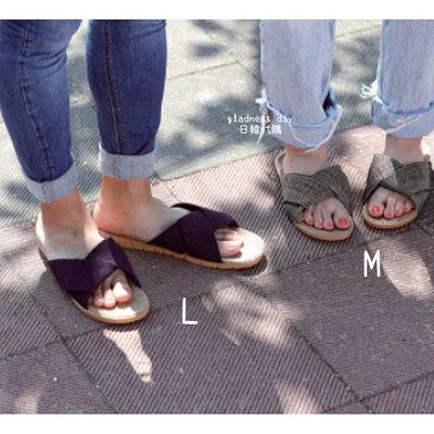 *Gladness day 日韓代購*預購 日本 BISQUE 休閒麻扭帶拖鞋 M 室內 戶外 休閒好穿