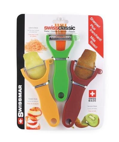 瑞士 Swissmar 削皮刀 削皮器 刨皮刀 (鋸齒刀口/平刀口/刨絲刀口 3入)