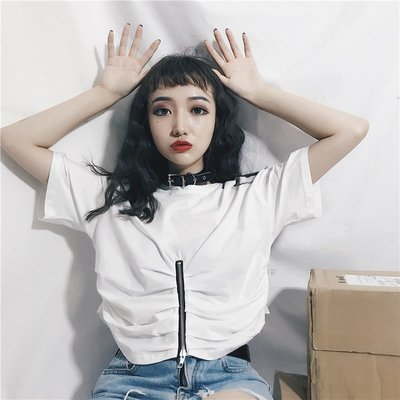2018韓版夏季顯瘦百搭圓領純色原宿拉鏈學生 短袖T恤女