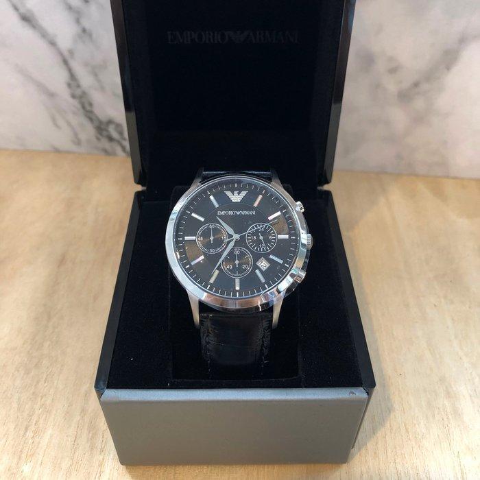 美國百分百【全新真品】 Emporio Armani EA 手錶 腕錶 男錶 AR2447 不鏽鋼 三眼計時 J815