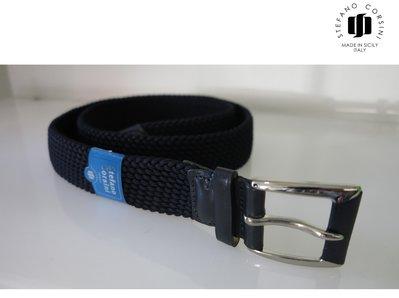STEFANO CORSINI 伸縮帶 編織 質感 皮帶 義大利製 時尚
