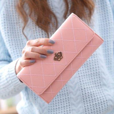 手拿包  手拿包新款女長款多功能韓版搭扣可愛時尚學生女手拿包錢夾皮夾