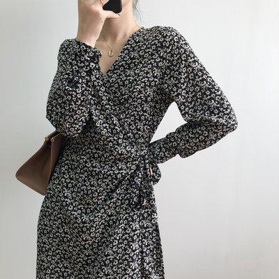 美感美型氣質雪紡連身裙 V領一片式綁帶高腰長袖洋裝 艾爾莎【TAE8516】