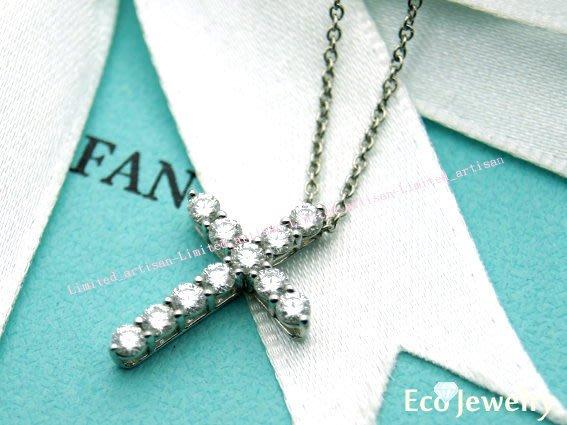 《Eco-jewelry》【Tiffany&Co】新款 鉑金十字架鑲鑽項鍊 Pt950項鍊~專櫃真品 近新品