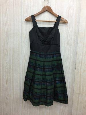 【愛莎&嵐】eu  EUNICE 黑色條紋格子細肩帶洋裝 / 38 1070702