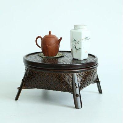爆款仿古竹編制品點心筐碗水果中式做舊茶...