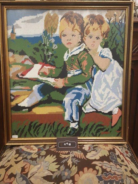 【卡卡頌 歐洲跳蚤市場 / 歐洲古董 】比利時老件_ 孩童 手工針織 十字繡 掛畫 pa0116