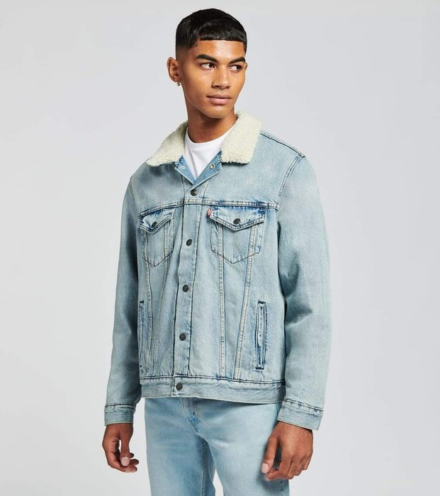 【羊絨裡毛領XS-XXL號】美國LEVI S Sherpa Trucker Jacket 淺藍紅格紋裡牛仔外套保暖夾克