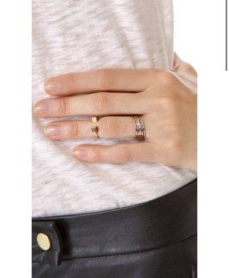 *Cali Style*全新正品[Vita Fede]Ultra-Mini鍍24K金立體方塊 指節戒指~5號7號