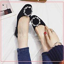 Sis KOREA 簡約奢華 復古時髦 名媛風 水鑽方頭平底鞋 優雅氣質 歐美風英倫簡約娃娃鞋 樂福鞋逛街約會 裸色