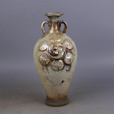 【三顧茅廬 】唐代銀光窯金銀釉堆花雙系梅瓶 出土文物古瓷器手工瓷古玩收藏品