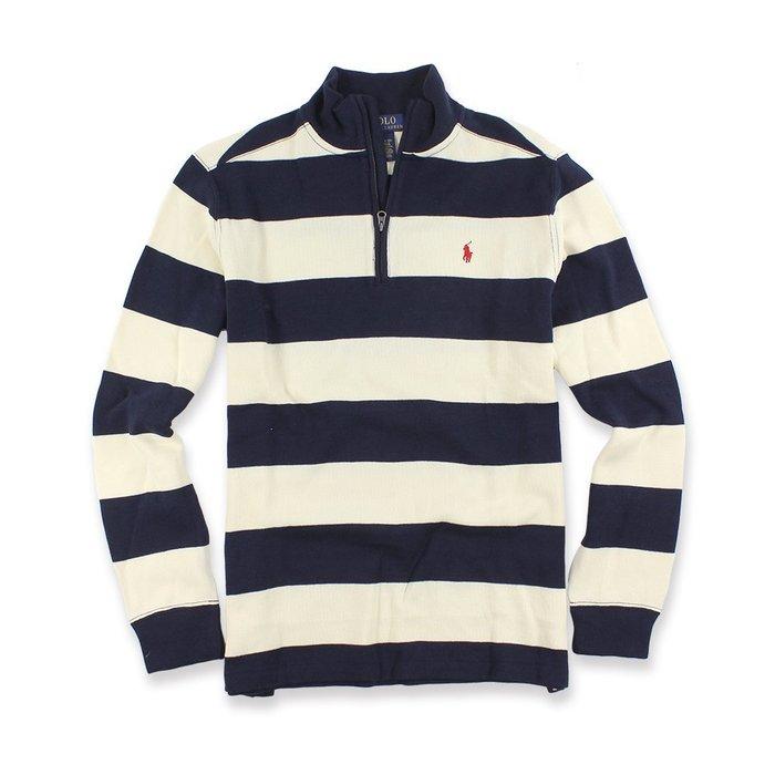 美國百分百【Ralph Lauren】針織衫 RL polo 小馬 半拉 毛衣 線衫 條紋 深藍/米白 XS號 I556