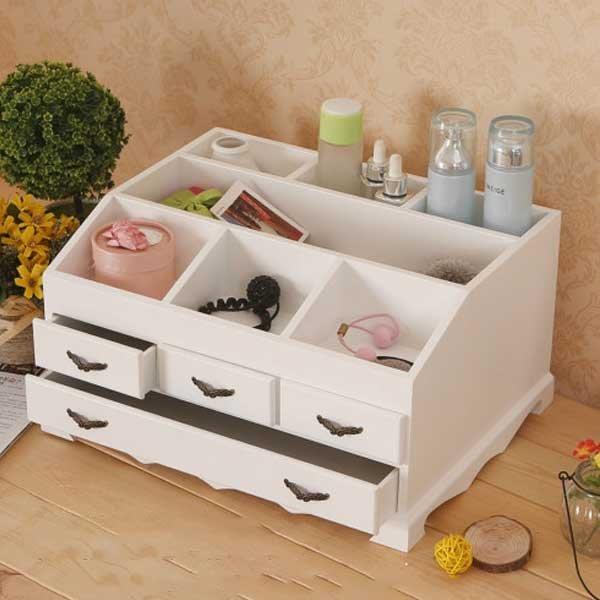 5Cgo【鴿樓】會員有優惠  522073190520 韓式田園抽屜式木質化妝品創意木制桌面收納盒首飾盒儲物櫃 大號