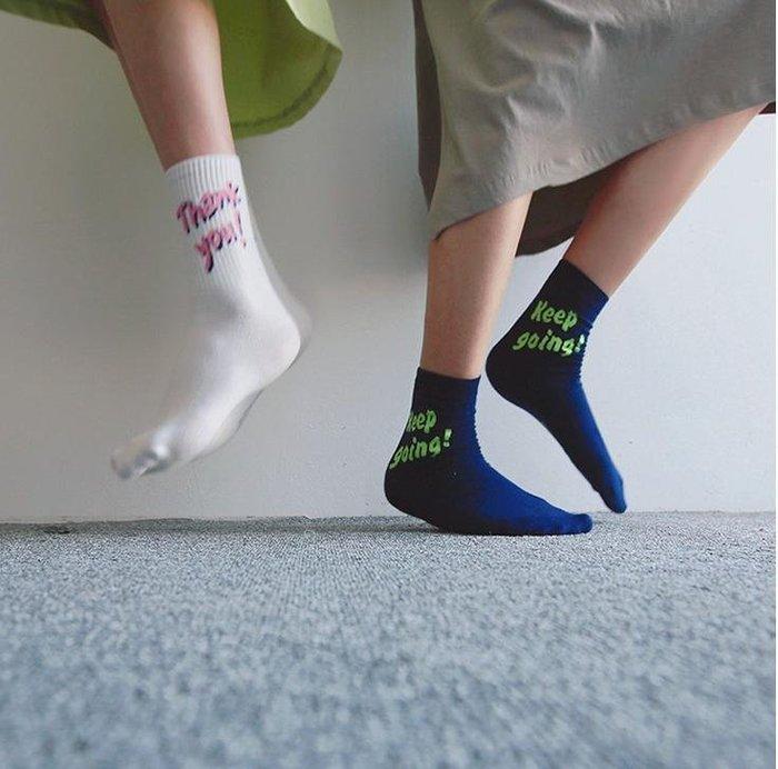 買5雙送1雙🌺 拿鐵小姐MISS LATTE🌺 韓國東大門同步  東大門代購 棉襪 字母 中筒襪