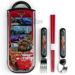 東京家族 CARS餐具組不鏽鋼湯叉+筷子+收納盒餐具組/環保/開學/便當盒