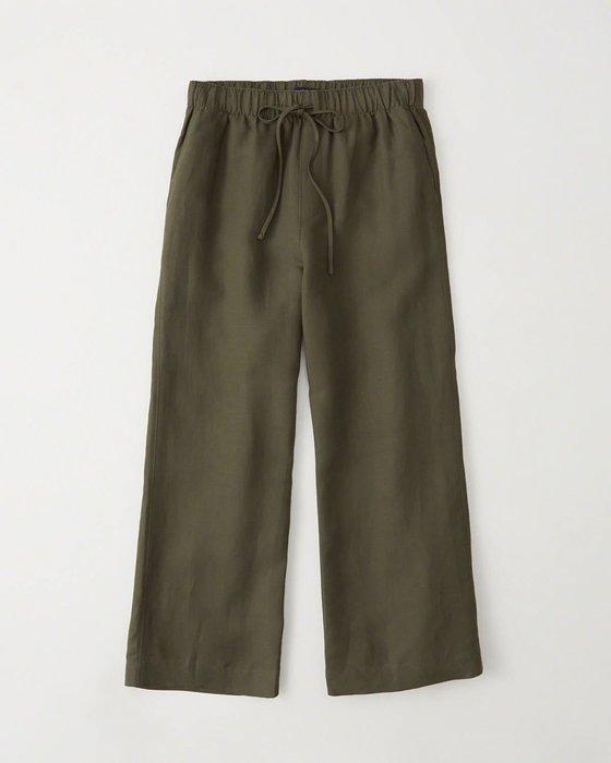 Maple麋鹿小舖 Abercrombie&Fitch * AF  深綠色綁帶長寬褲 * ( 現貨XS號 )