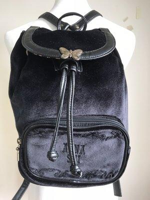 ANNA SUI~限量版~二手絨布材質後背包~買包送EX安瓶面膜1盒