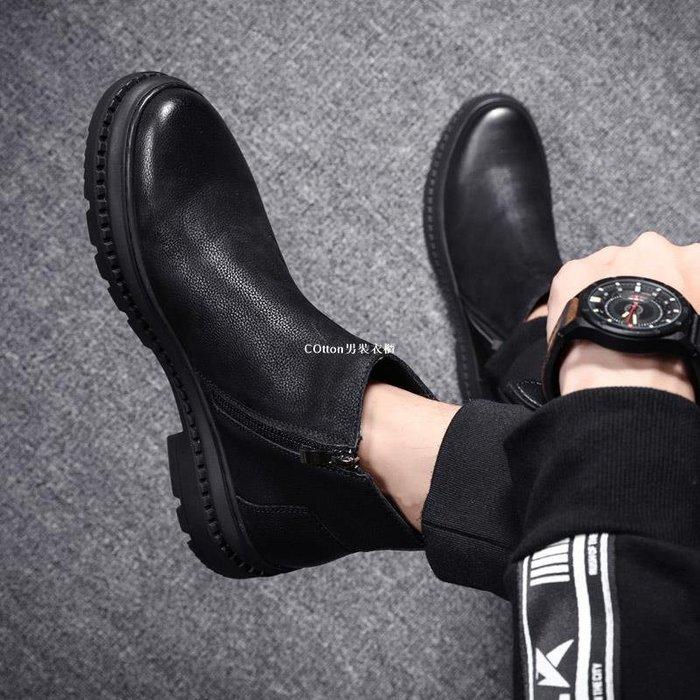 COtton男裝衣櫃馬丁靴男靴子男鞋秋季高幫軍靴男士中幫皮鞋子正韓百搭休閒短靴潮