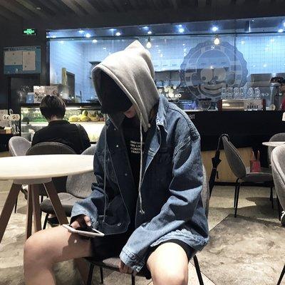 【柒姐姐】春秋新款個性拼接假兩件寬松連帽夾克韓版青少年時尚bf牛仔外套潮