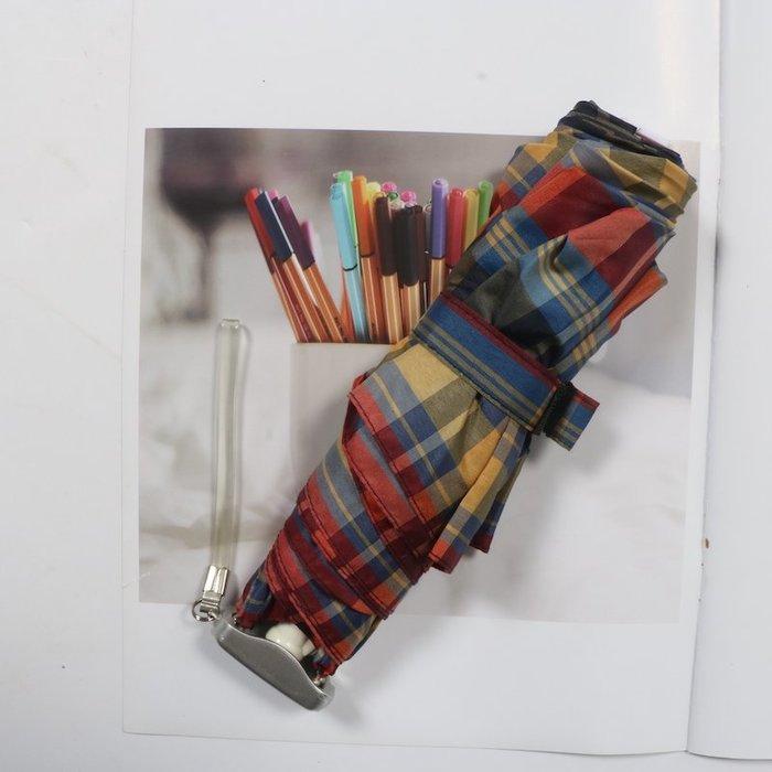 奇奇店-超扁設計色織布襯衫格紋鋁合金超輕晴雨傘#加固 #小清新 #晴雨兩用