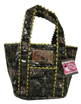 【卡漫迷】 Hello Kitty 限量 剩3 手提袋 黑色 金邊 ㊣版 手提包 防水 小 水餃包 日版
