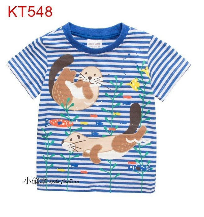 小確幸衣童館 KT548 歐美款純棉男童藍色條紋圖印海獺海底水草短袖夏T