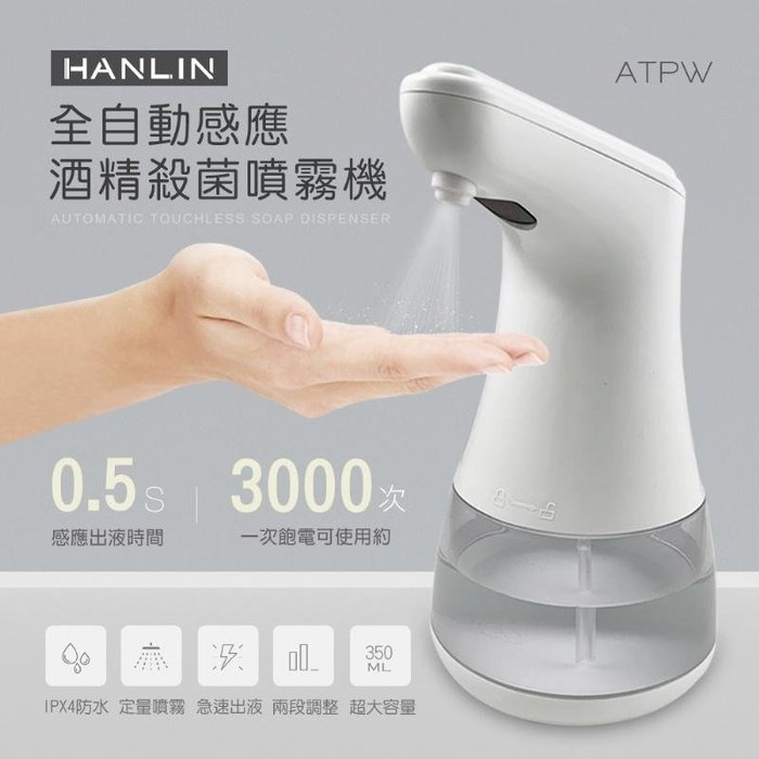 HANLIN-ATPW 自動感應酒精專用淨手噴霧機