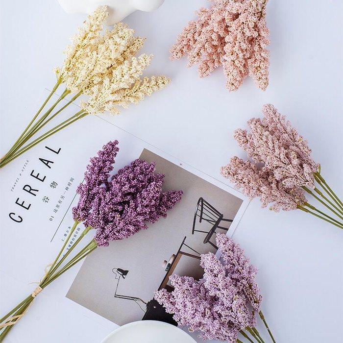 米粒花 仿真花 谷穗花 6支 麥穗花 便宜 糖果色 超低價 粉色 拍照 道具 鄉村風 北歐風 假花 塑膠花 人造花