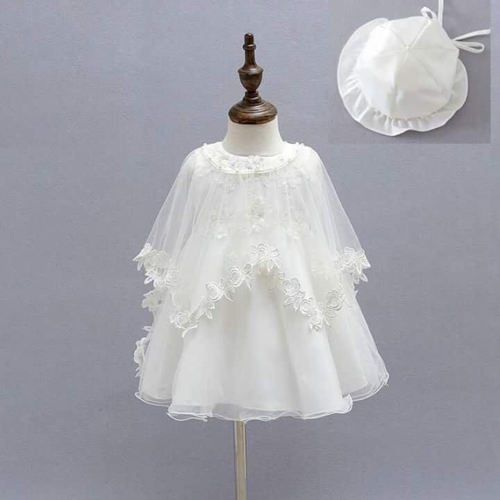 【Bobo dress】現貨寶寶禮服 蕾絲花朵披肩蝴蝶結白紗裙小洋裝 嬰兒花童小禮服婚紗彌月禮盒抓週團拍寫真造型服