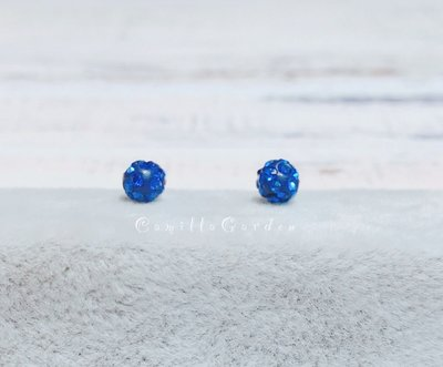 韓國~T552~甜美可愛休閒百搭 藍色圓球 閃鑽 霓紅燈 925純銀耳針耳環 可改矽膠耳夾式耳環