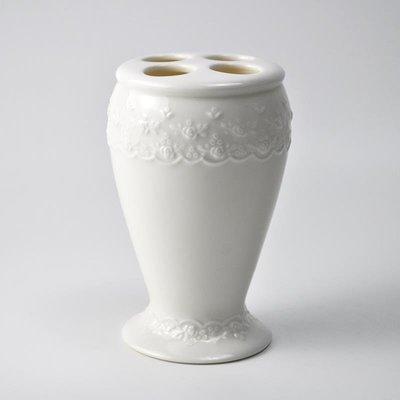 千禧禧居~美國Simply Shabby Chic 浮雕花朵 陶瓷牙刷杯牙刷架家用酒店專用