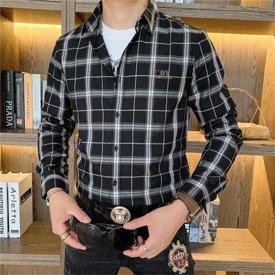 RECONIN品質男裝 2020秋季新款字母燙鉆長袖襯衣男百搭時尚休閒百搭格子襯衫上衣男