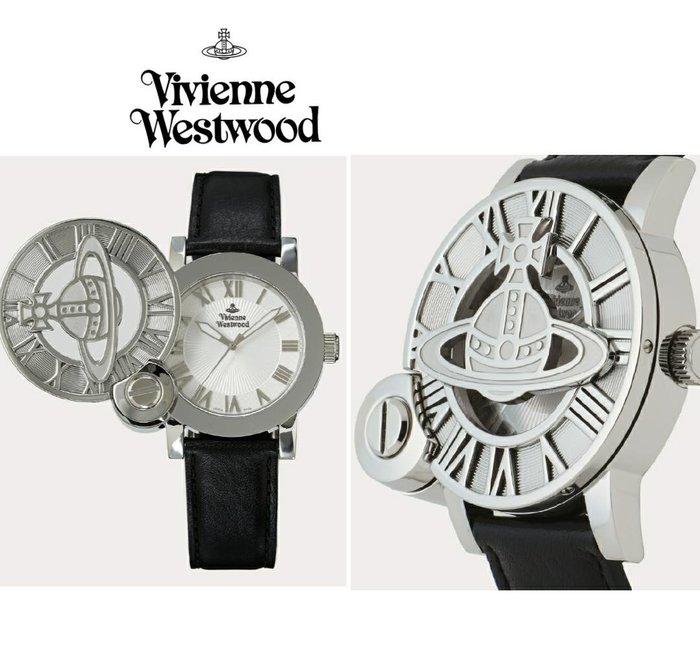 Vivienne Westwood►( 黑色×銀色  ) 立體土星翻蓋手錶 中性錶|100%全新正品|日本限定款!