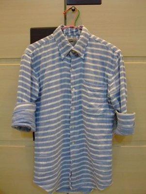 最終降價Naked and Famous  SlimShirt Gauze Double-Weave Stripes/Dots 條紋襯衫