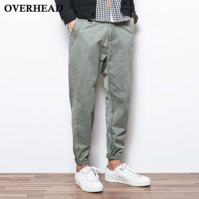 當日出貨!【OVERHEAD】原創設計 獨家訂製布料 純色重度水洗復古感休閒褲 窄管褲