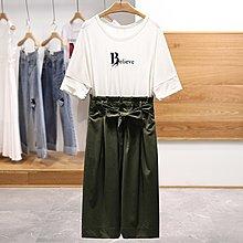 【木風小舖】假二件 Belirve英母 配色拼接綁帶洋裝*白+軍綠