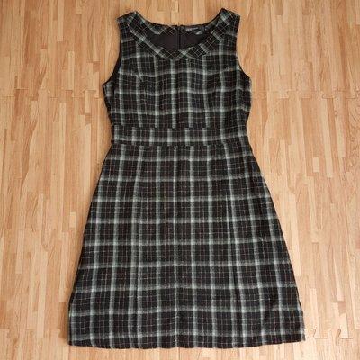 #16 百貨專櫃品牌 clear impression 黑白格紋經典款氣質毛料洋裝
