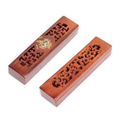 花梨木線香盒居家鏤空鑲貝線香爐臥香爐熏香盒焚香爐線香香薰雕刻紅木