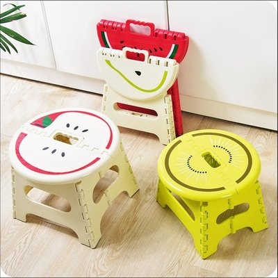 摺疊凳水果造型可折疊塑膠凳子便攜手提戶外折疊凳家用馬紮板凳兒童小凳子(小號)_☆找好物FINDGOODS☆