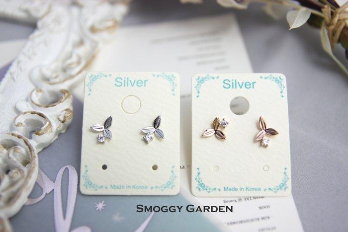 【Smoggy Garden】韓 幾何圓形水鑽鋯石點綴立體三葉環繞小巧葉片枝葉耳環 925純銀針 銀/玫瑰金