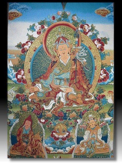 【 金王記拍寶網 】S1707  中國西藏藏密佛像刺繡唐卡 蓮花生大士圖  (大)一張 完美罕見~
