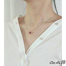 Do.小飾天然草莓晶圓形吊墜項鏈女925純銀鎖骨鏈文藝氣質小清新頸鏈潮