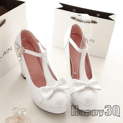 甜美T型珍珠蝴蝶結粗跟公主涼鞋-粉/藍/白33-43【AAA0050】預購