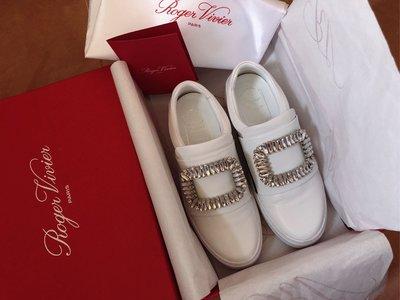 Roger Vivier swarovski leather white sneaker heels lv cos名牌白色真皮超靚司華洛世奇水晶閃石鞋 襯衫 袋