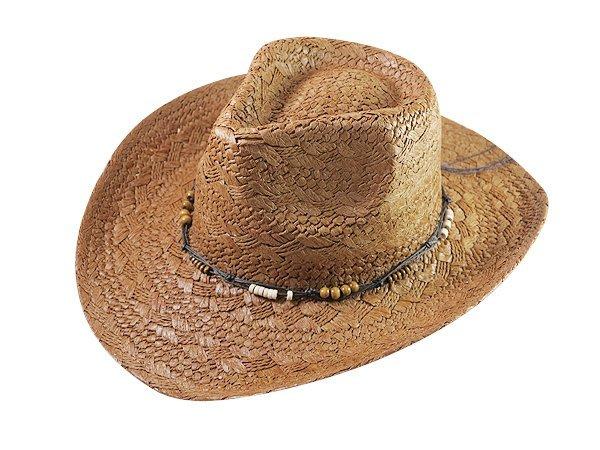 【二鹿帽飾】頂級拉拉草/ 串珠滾邊 硬板牛仔翹尾帽/ 西部帽/ 狩獵帽/大頭圍適合-2色