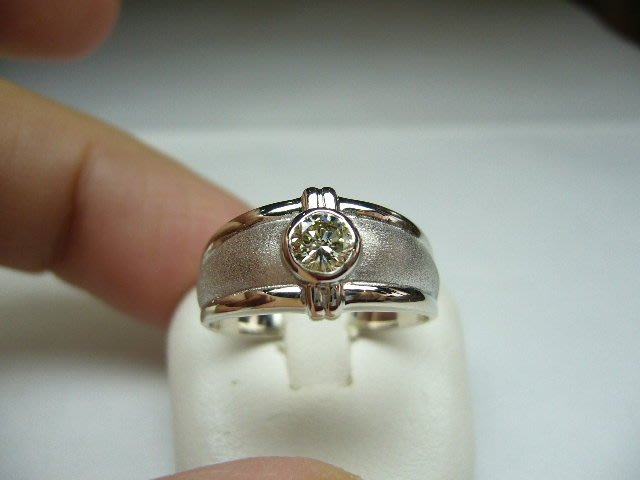 [吉宏精品交流中心]27分 南非天然鑽石 白K金 造型 戒指(男戒)