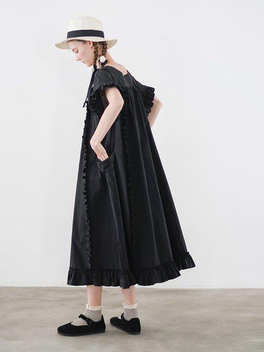 【鈷藍家】甜美個性手工皺褶木耳花邊連身裙夏清新大碼原創日系小眾白色長裙192575